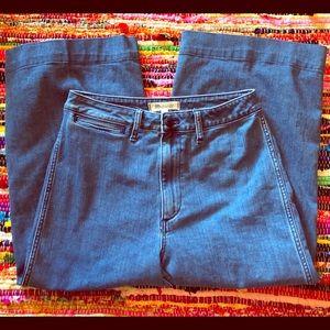 Madewell Emmett wide leg crop denim pant size 28